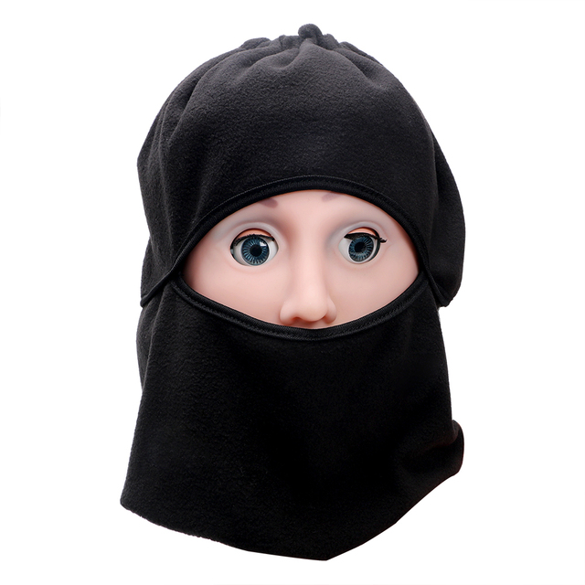 FORAUTO Black Balaclava Full Face Cover Cap Fleece Mask Windproof Hat Winter Stopper Motorcycle Face Mask 5