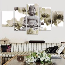2017 UnFramed 5 Panel Large Orchid Background Buddha Painting Fengshui Canvas Art Wall Pictures For Living Room Home Decor все цены