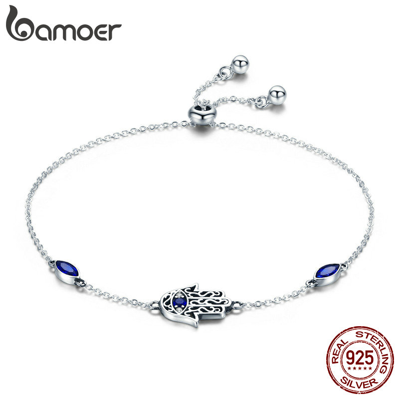 BAMOER 925 Sterling Silver Lucky Hamsa Fatima Hand Chain Link Bracelets Blue CZ Silver Jewelry SCB076