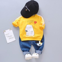 2019 New Spring Baby Girls Boys Clothes Suits Children Cotton Cartoon Dog T Shirt Jeans 2Pcs/Sets Casual Infant Kids Costume 2017 spring children s girls 2 clothing sets jeans suits for kids girl costumes red striped cotton t shirt jeans dress clothes