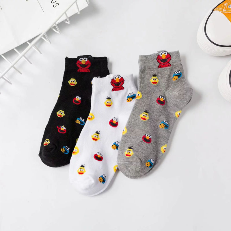 Summer   Socks   Moda Mujer 2019 Calcetines Mujer Divertido Cartoon Cotton   Socks   Sesame Street Streetwear Harajuku Kawaii Cute   Socks