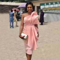YNQNFS C20 Elegant One Shoulder Pink Birthday Anniversary Satin Dress Party Gown Mother of Bride Vestido de festa 2019