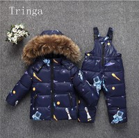 Real fur down coat with hood Jacket+jumpsuit kids Baby toddler girl boy children clothes coat parkas 2pcs winter outfit suit