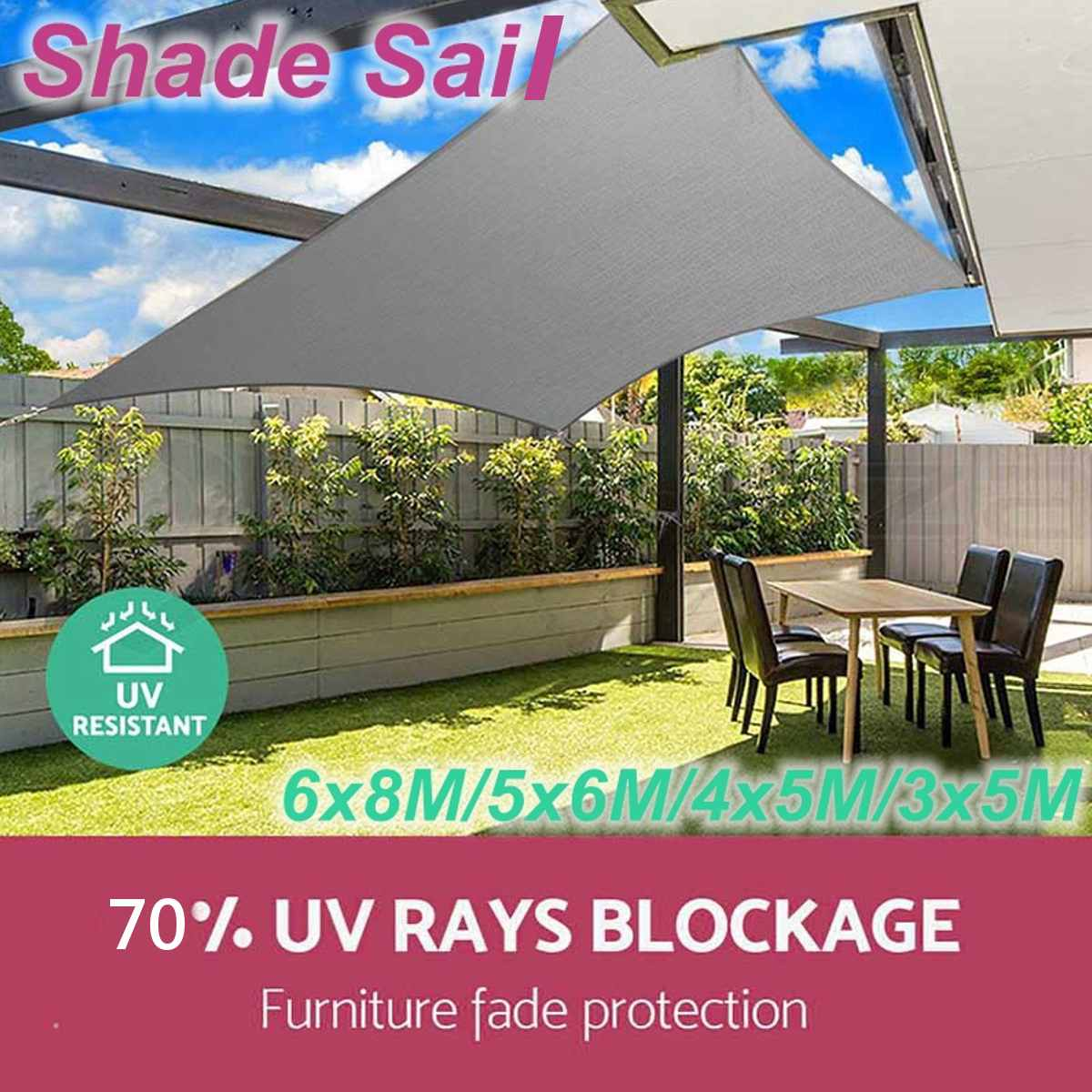 3/4*5m 5*6m 6*8m 70% UV Protection Waterproof Sun Sunscreen Shade Sails Net Oxford Cloth Outdoor Canopies Yard Garden Encrypted3/4*5m 5*6m 6*8m 70% UV Protection Waterproof Sun Sunscreen Shade Sails Net Oxford Cloth Outdoor Canopies Yard Garden Encrypted