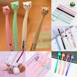 0.5mm kawaii tinta de plástico criativo gel caneta gato dos desenhos animados canetas neutras para a escola escrita material de escritório caneta bonito coreano papelaria