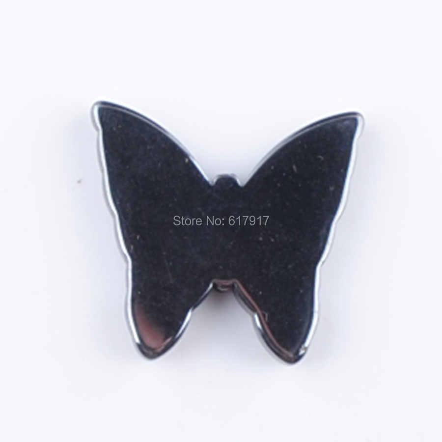 RONGZUAN 黒非磁性ヘマタイト蝶ビーズペンダントヒーリングチャーム 1 個ジュエリー TN263