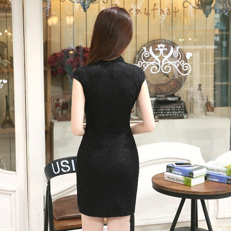 Image 2 - SHENG COCO Sexy Black Chinese Style Qipao Dresses Slim Thin Lace Cheongsam Summer Fashion Improvement Vintage ChipaoCheongsams   -
