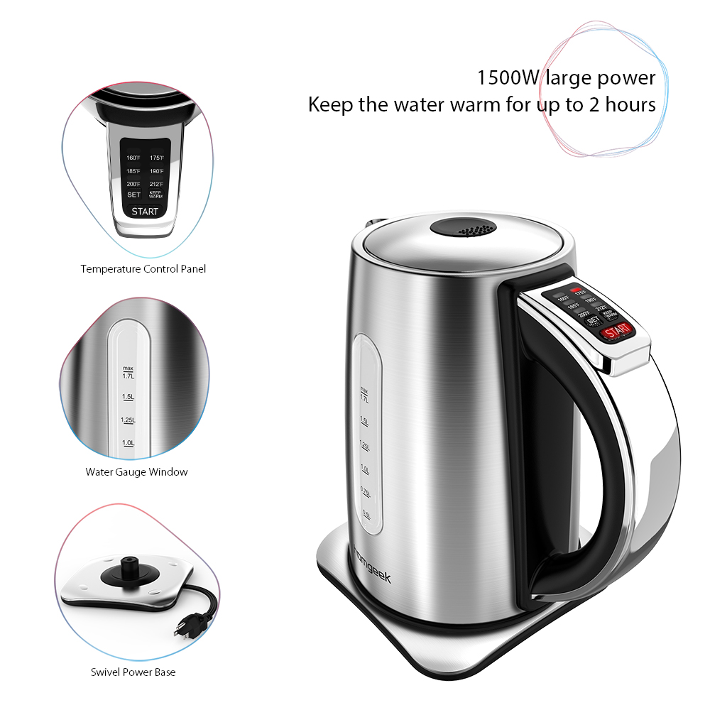 Homgeek 1 7L Stainless Steel Electric Kettle Cordless Electric Jug Kettle with Temperature Control