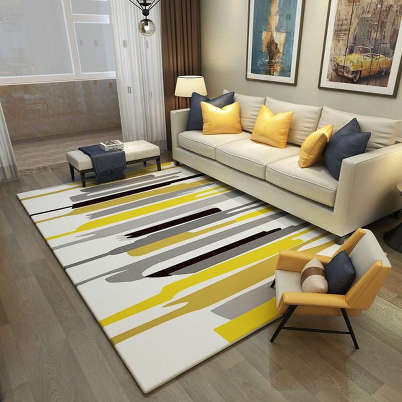 Fashion Modern Geometric Abstract Yellow Black StripedDoor/Kitchen Mat Living Room Bedroom Parlor Area Rug Decorative Carpet