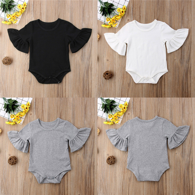 Fashion Summer Newborn Infant Baby Clothing Flare Sleeve Cotton Baby Girl Bodysuit Solid Color Leotard Tops Kids Clothes