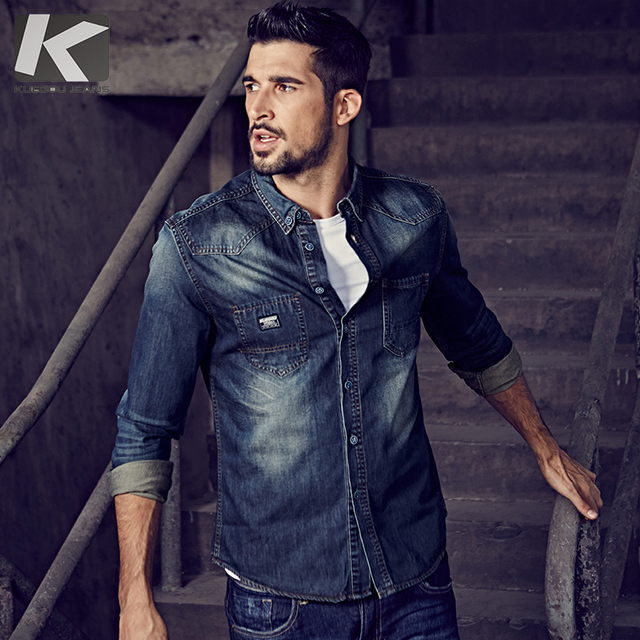 KUEGOU 2019 otoño 100% Camisa vaquera azul de algodón camisa de vestir para hombres botón Casual Slim Fit manga larga para hombre moda marca blusa 15005