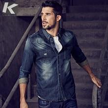 Kuegou 2019 Herfst 100% Katoen Blauw Denim Shirt Mannen Jurk Button Casual Slim Fit Lange Mouwen Voor Man Fashion Brand blouse 15005
