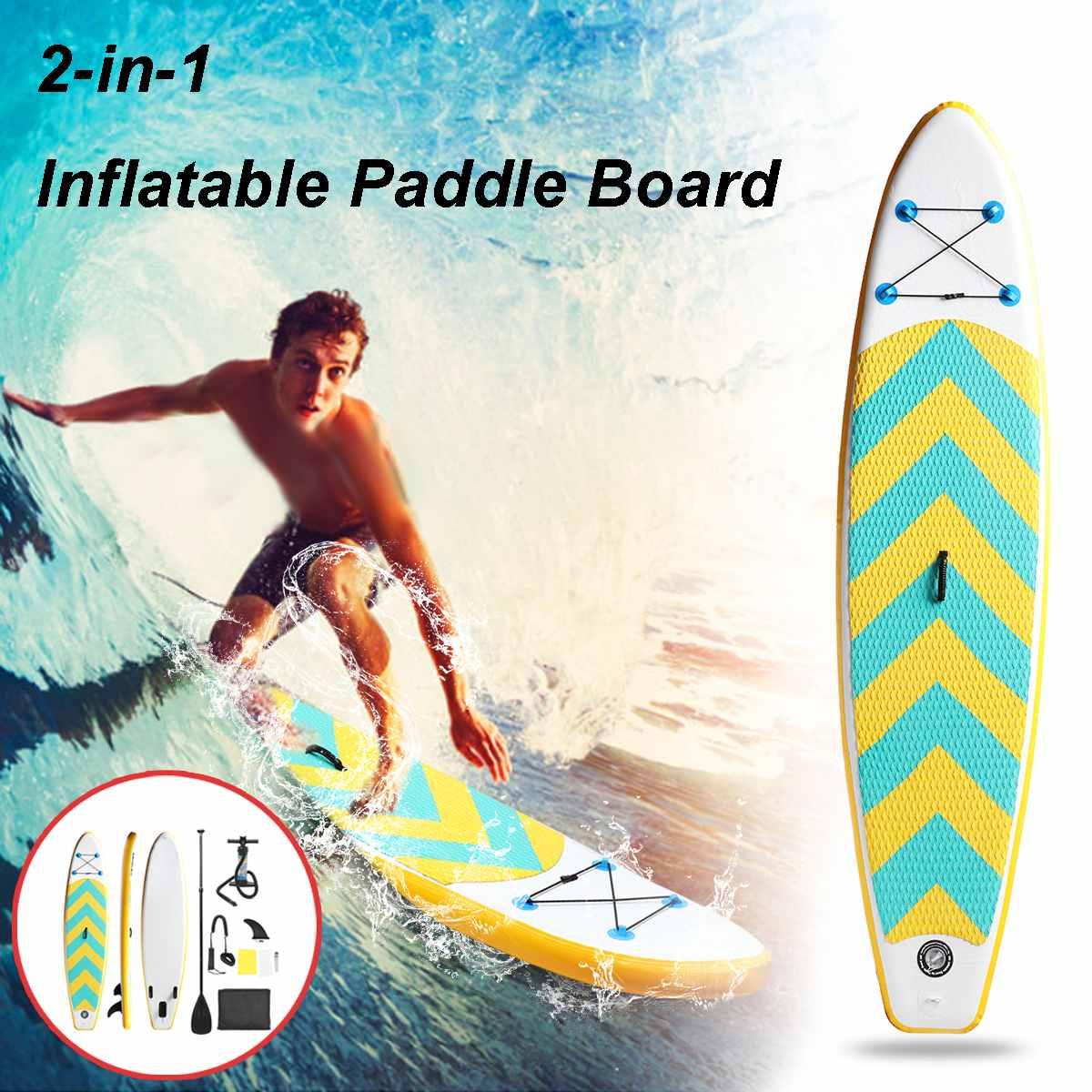 SGODDE 2 en 1 planche de Surf gonflable Stand Up Paddle Board pliable planche de Surf Kayak outil de Surf Pad de pont 3 m X 0.76 m X 0.1 m