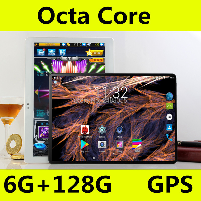 O envio gratuito de Android 8.0 Octa Núcleo 10 polegada Tablet PC A-GPS 8MP 6 GB de RAM 128 GB ROM WIFI Bluetooth 3G 4G LTE IPS 1280*800 tablet