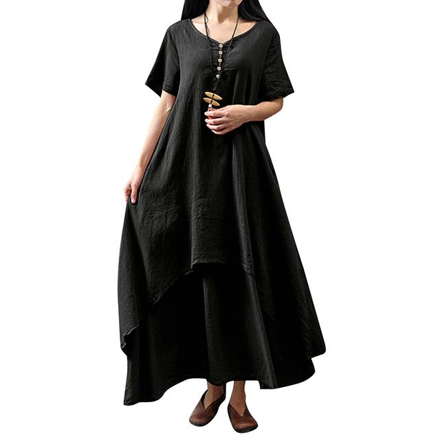 Women Casual Loose Dress Solid Color Short Sleeve Oversized Vintage Dress