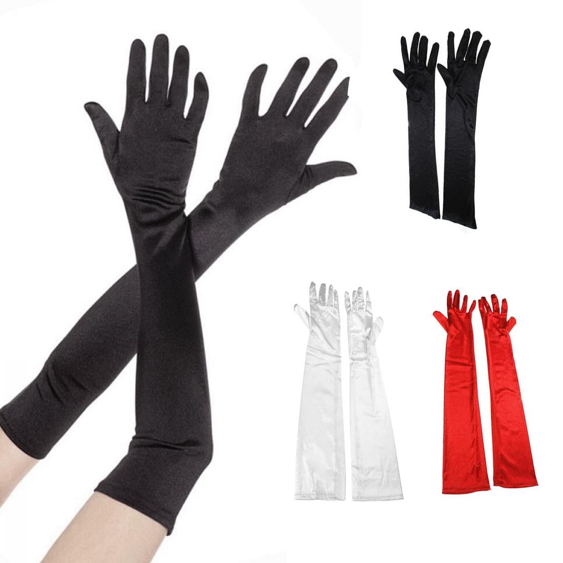 Long Satin Fashion Gloves Womens Satin Long Gloves Opera Evening Party Prom Costume Gloves Velvet H
