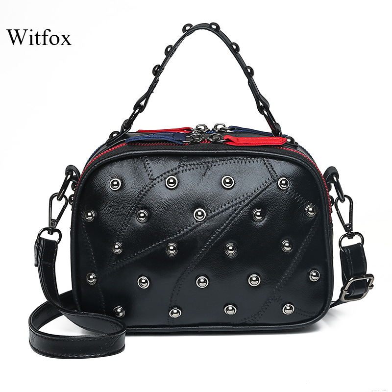 Witfox 100% Genuine Leather Dot Rivet Handbag For Women Punk Style Boston  Ladies Tote Panelled Double-sided Zipper Shoulder Bag