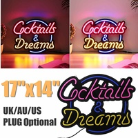 Cocktail Dream Real Glass Tube Neon Light Sign Tavern Beer Bar Pub Decoration Neon Lamp Board Commercial Lighting 17x14