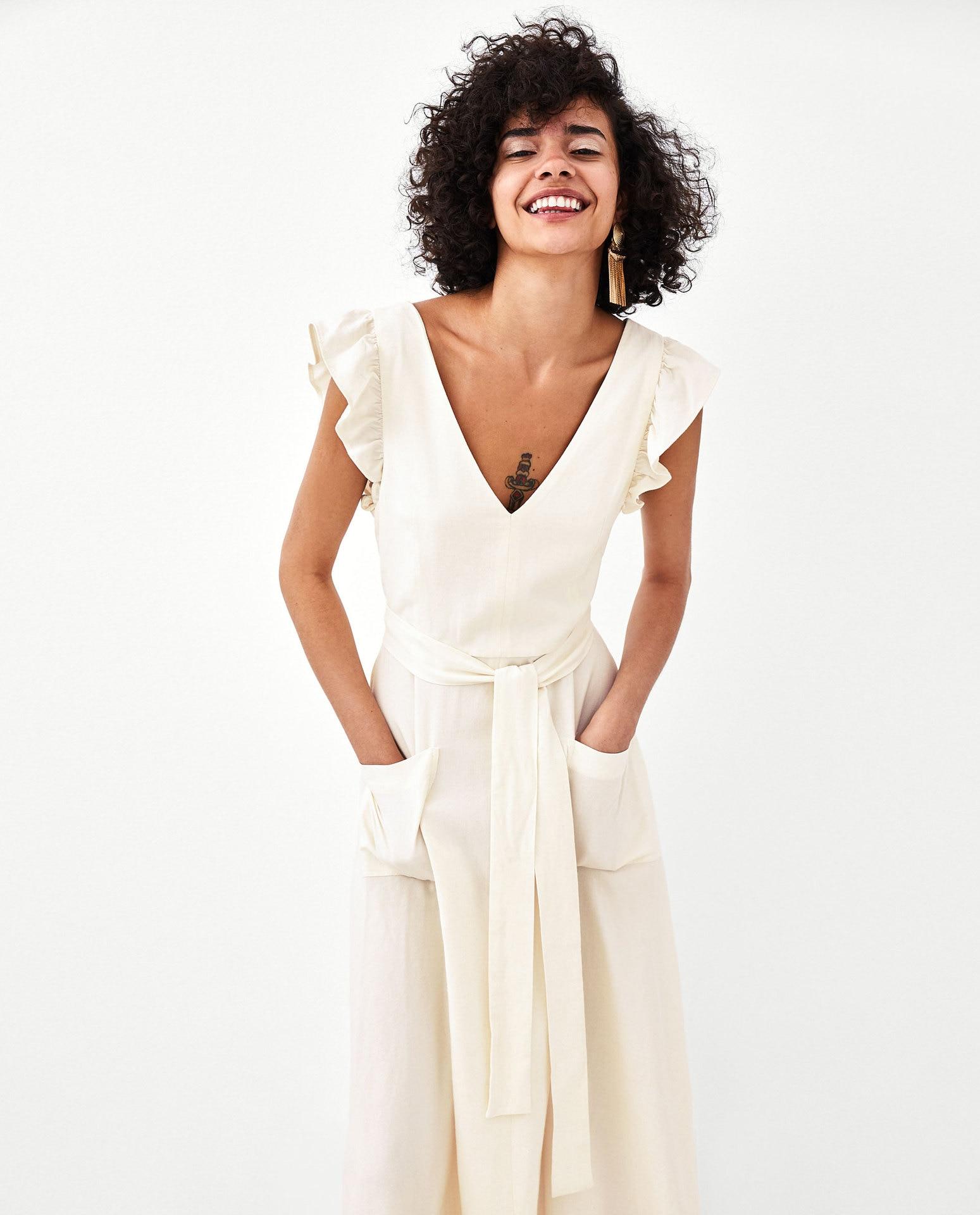 elegant ruffless white linen dress women sleeveless ...