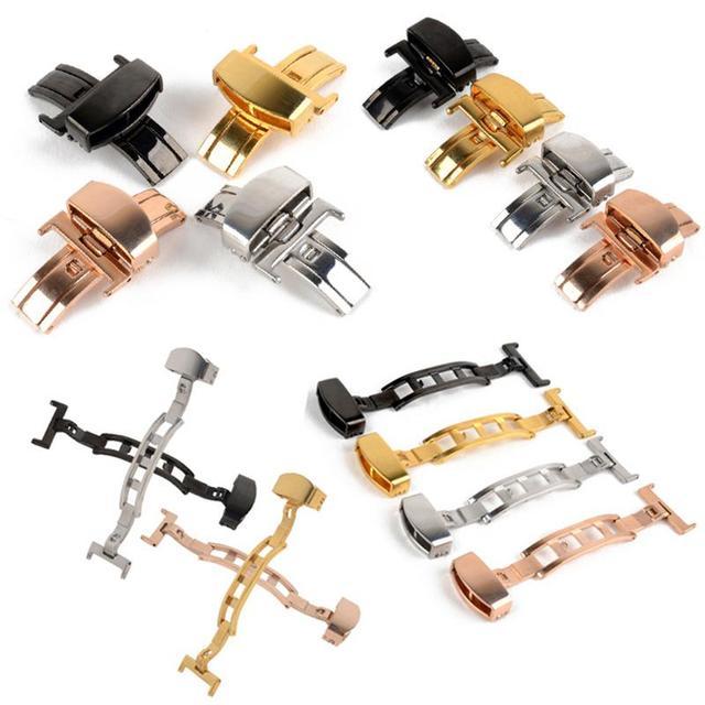 10-22 мм Нержавеющаясталь однотонные две кнопки Fold часы с пряжкой в форме бабочки развертывания часы с застежкой и ремешком, мужские часы, наручные часы с механизмом, часы