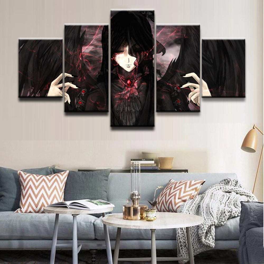 Wall Art Modular Pictures Home Decorative Framework HD Printed Abstract Poster 5 Pieces Anime Unknown Role Canvas Painting in Painting Calligraphy from Home Garden