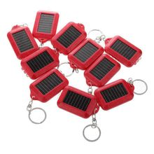 10X Mini Solar Power Rechargeable 3LED Flashlight Keychain Light Torch Ring New   red