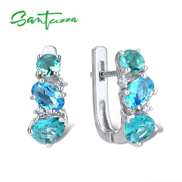 SANTUZZA ピアス女性 925 スターリングシルバースタッドピアススパークリンググリーンブルークリスタルトレンディなファッションジュエリー