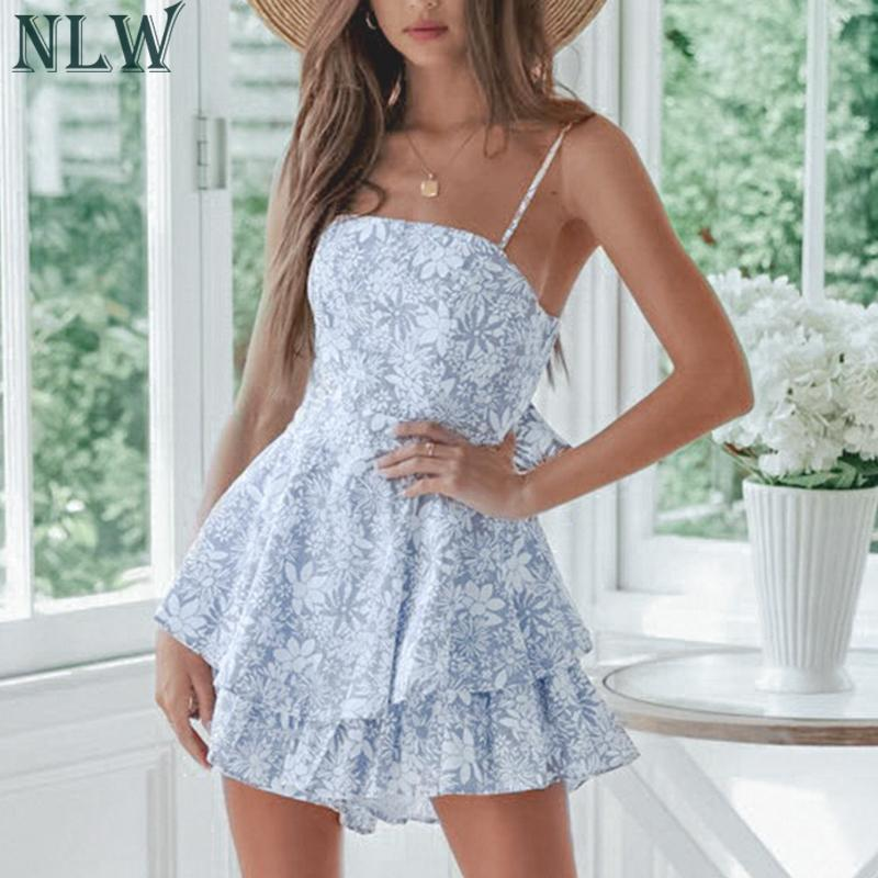 NLW Blue Elegant Summer Romper Playsuit 2019 Sexy Beach Holiday Short   Jumpsuit   Rompers Backless Short Rompers