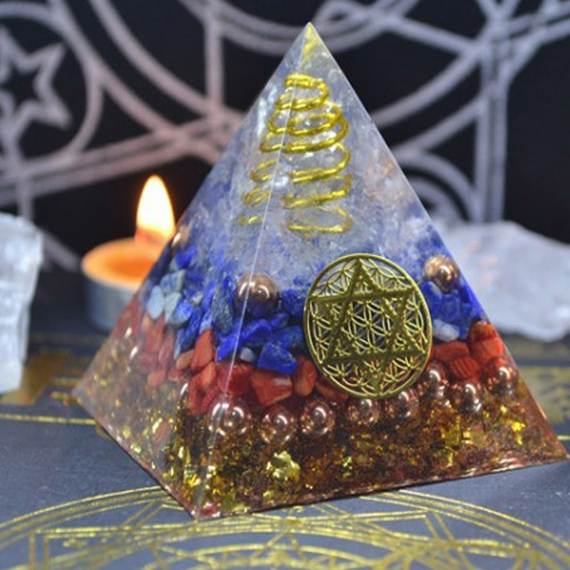 Aura Crystal Orgonite Pyramid Energy Decoration Handmade Resin Decorative Craft Jewelry Bring Good Luck Throat Wheel C0123