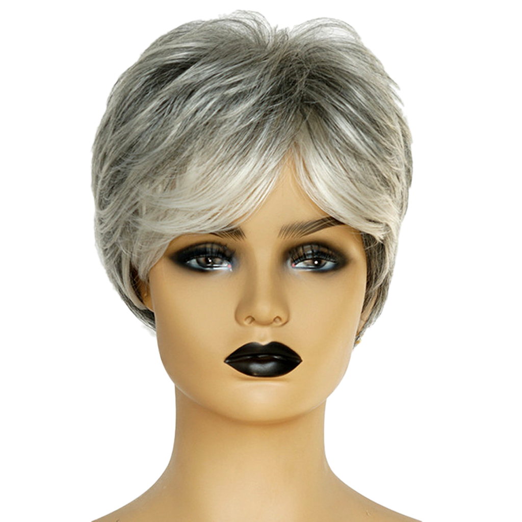 8'' Natural Short Straight Wigs Human Hair Pixie Cut Wig for Women w/ Side Bangs Silver Gray 8 short straight wigs human hair pixie cut chic wig for women w bangs black straight