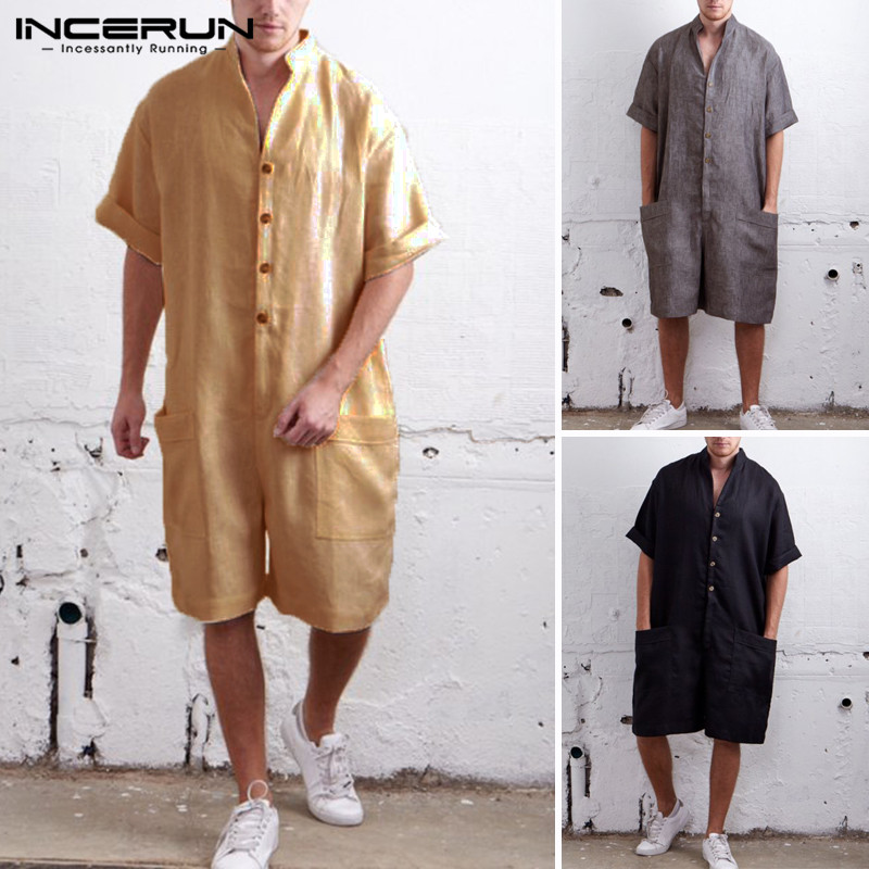 Harajuku Male Overall Mens Romper Short Sleeve Solid Button Down Big Pockets Jumpers Overalls Fashion Cargo Suits Casual Ramper