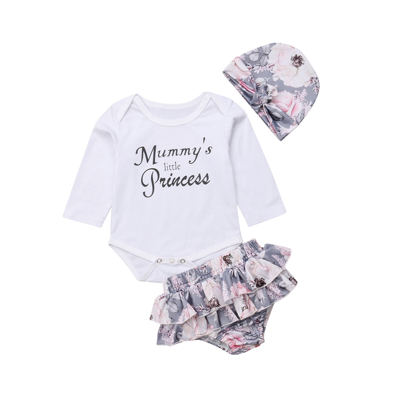 New Newborn Baby Girls Cotton Romper Tops Jumpsuit Print Floral and Tutu Pants and Hat Outfit Clothes Set Casual