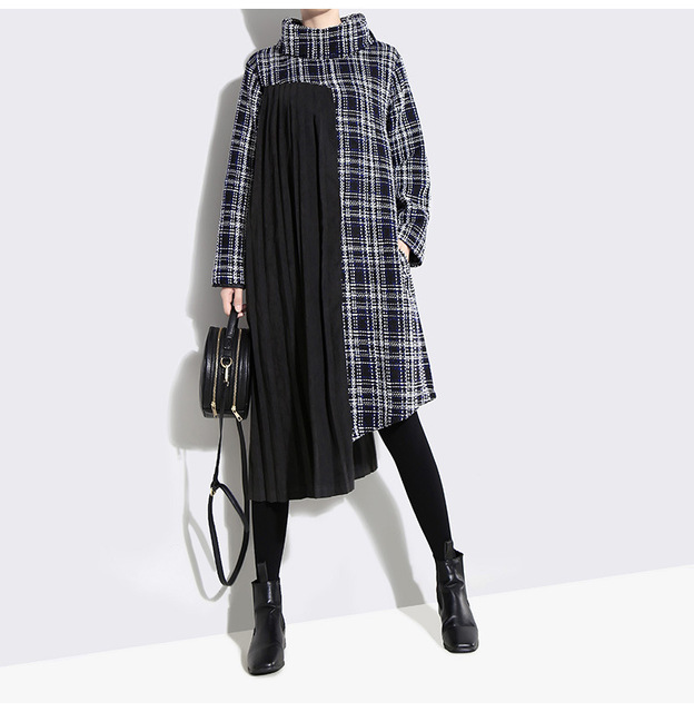 [EAM] 2019 New Spring  Winter High Collar Long Sleeve Black Plaid Printed Side Pleated Stitch Loose Dress Women Fashion JK830 4