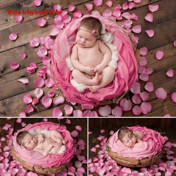 1000pcs Confetti Silk Rose Flower Petals Newborn Photography Props Baby Shower Gift Photo