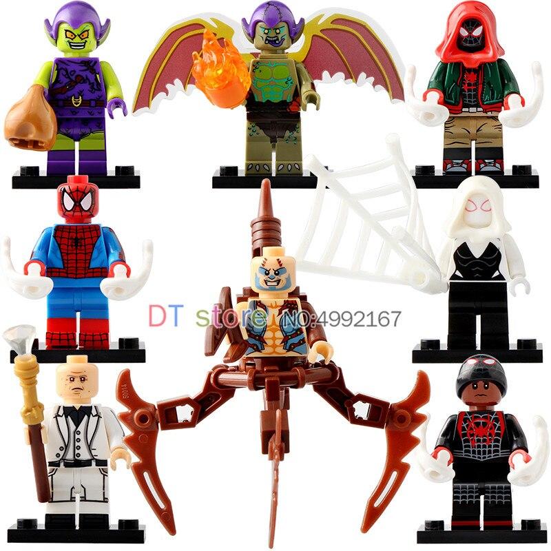 50 Pcs/Lot LegoING Super héros Figures SpiderMan dans l'araignée-vers Gwen blocs de construction cadeau briques jouets pour enfants X0241