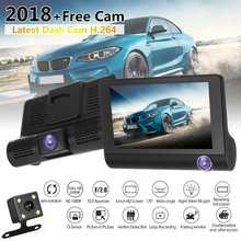 """4.0 """"3 Way Car DVR Della Macchina Fotografica Video Recorder Telecamera Posteriore Auto Registrator Due Telecamere Dash Cam DVR Dual Lens parcheggio Monitor"""