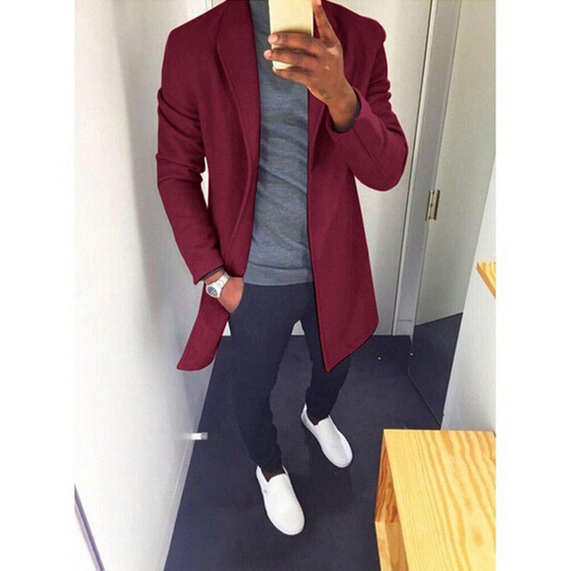2019 Autumn Winter Men Casual Coat Thicken Woolen Trench Coat Business Male Solid Classic Overcoat Medium Long Jackets Tops