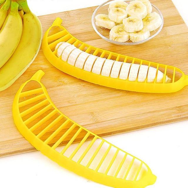 Plastic Banana Slicer Fruit Vegetable Cutter Chopper Shreadders Salad Maker Safty Tool Lemon Cutting Holder  Kitchen Accessories