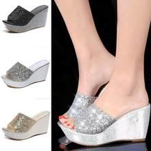 1cf73c441500 Summer Women Casual High Heel Wedge Skid Slippers Sandals Silver Bling Flip  Flops Shoes ladies wedge