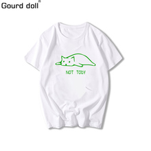 Gourd Doll Cartoon Funny Cat Leisure Print Large Loose T-Shirt For Women