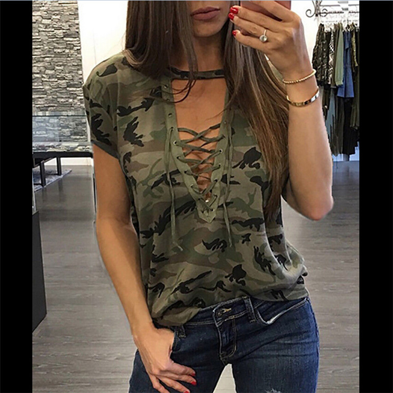 Women Summer Camouflage Tops Bandage V Neck Hollow Out Loose Tops Short Sleeve Female Ladies Casual Top T-Shirt New 2019 Fashion