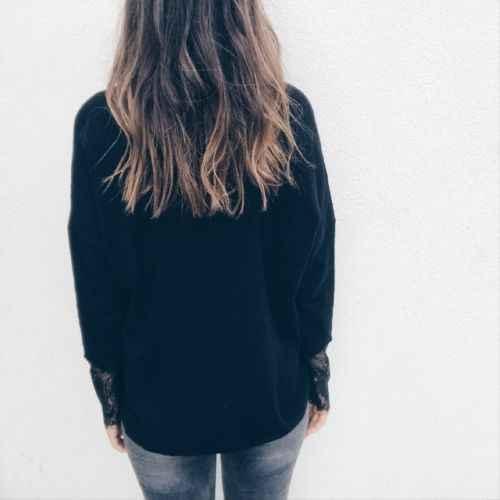Для женщин блузка повседневное сплошной черный v-образные вырезы дамы рубашка с длинными рукавами выдалбливают кружевная цельнокроеная
