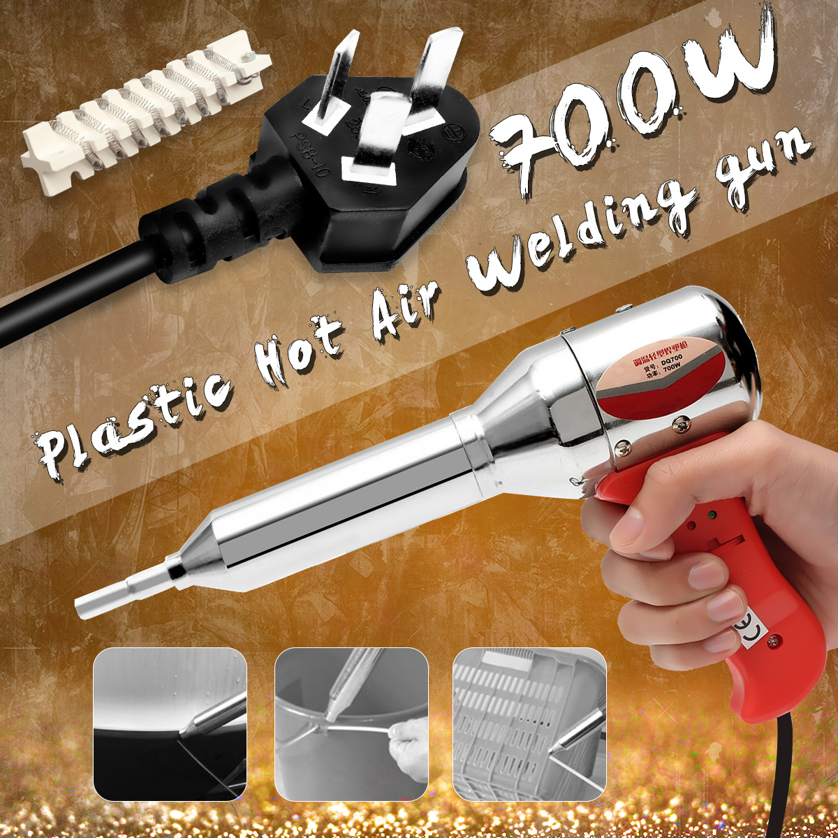 Hot Sale Portable 700W AC 220-240V Red Plastic Hot Air Welding Gun Temperature Heat 100-450 Degree With Ceramic Heater