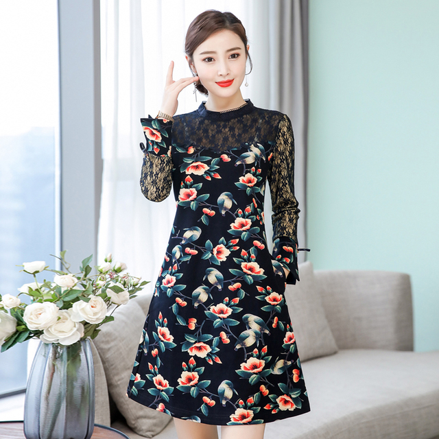 2019 New Spring Fashion Women Long dress Full Sleeve Print Patchwork Slim Lace Dresses Blue Flower 1002