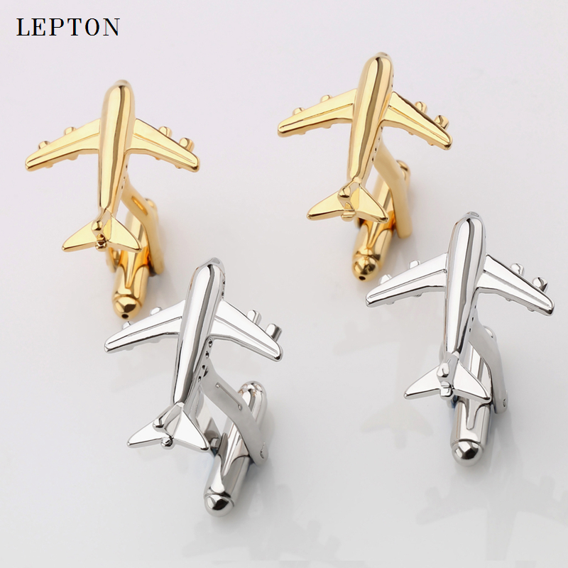 Hot Sale Real Tie Clip Classic Plane Styling Cuff links Mens Metal AirPlane Cufflinks For Mens Lepton Plane Design Cufflinks image