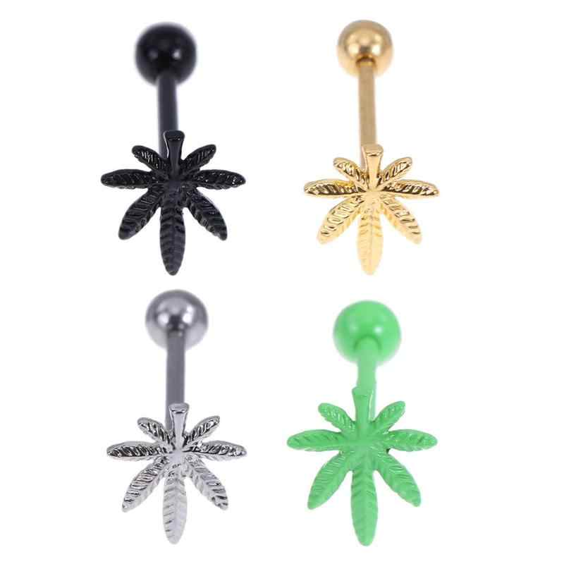 1 pc Fashion Tong Piercing Ringen Studs Rvs Leaf Body Sieraden