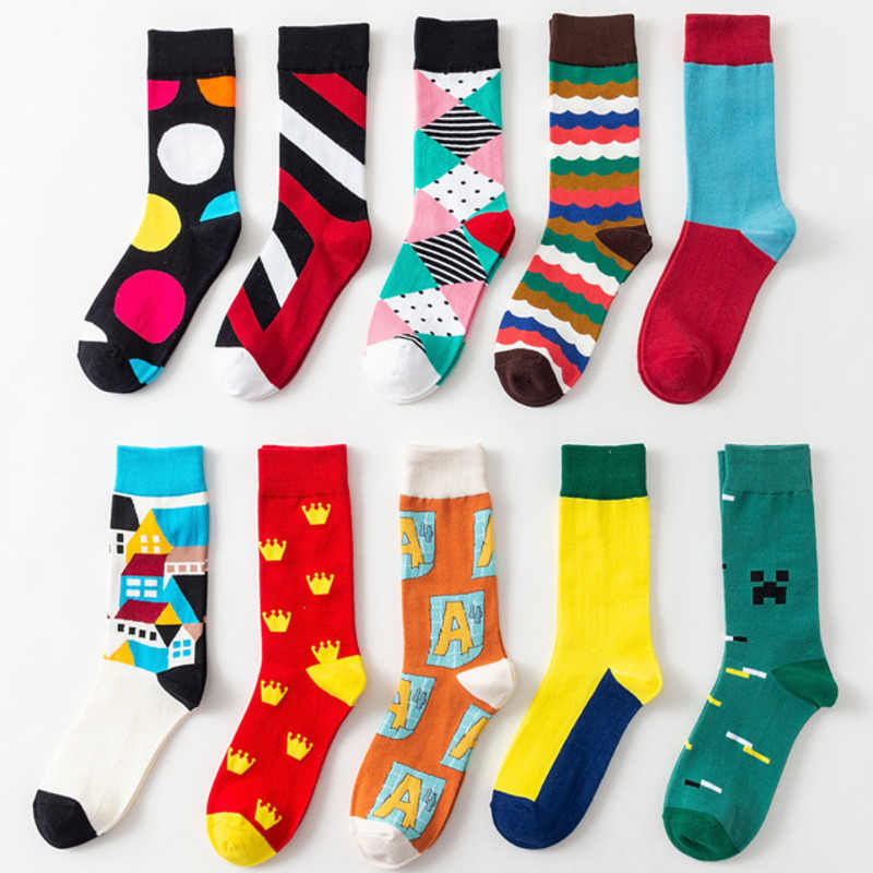 Men Socks Cartoon House Diamond Lattice Crown Wave Stripes Dot Funny Happy Skate Harajuku Hip Hop Street Cotton Casual Socks