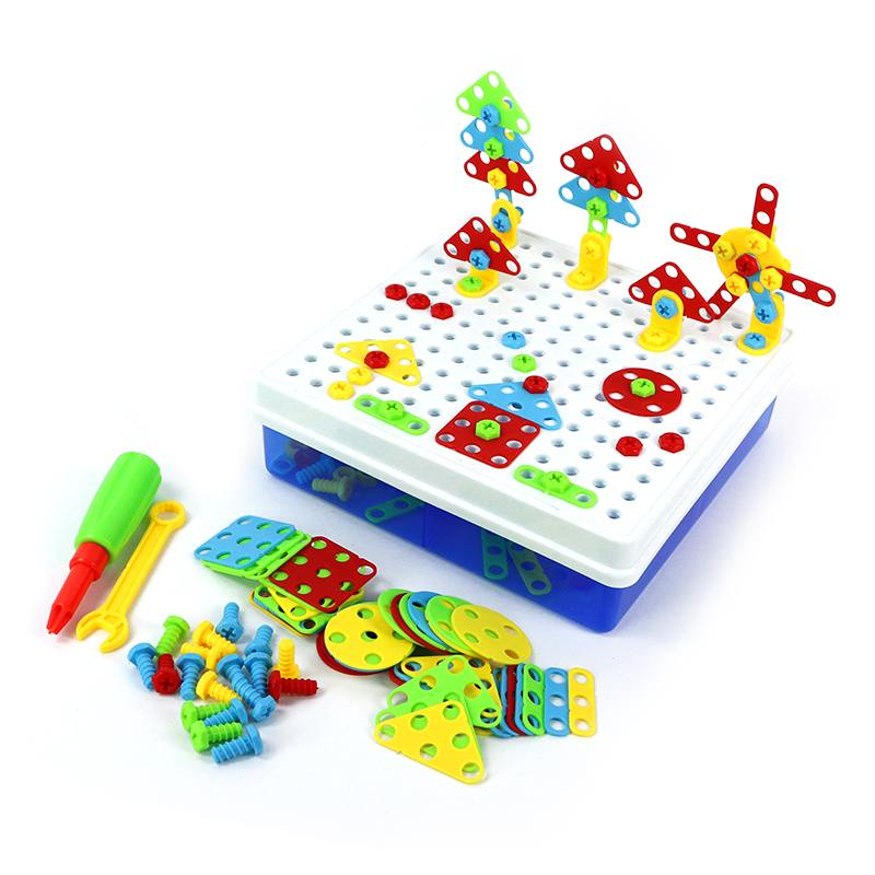Children Toys Drill Puzzle Educational Toys DIY Screw Toys Kids Tool Kit Boy Jigsaw Mosaicing Design Building Toy
