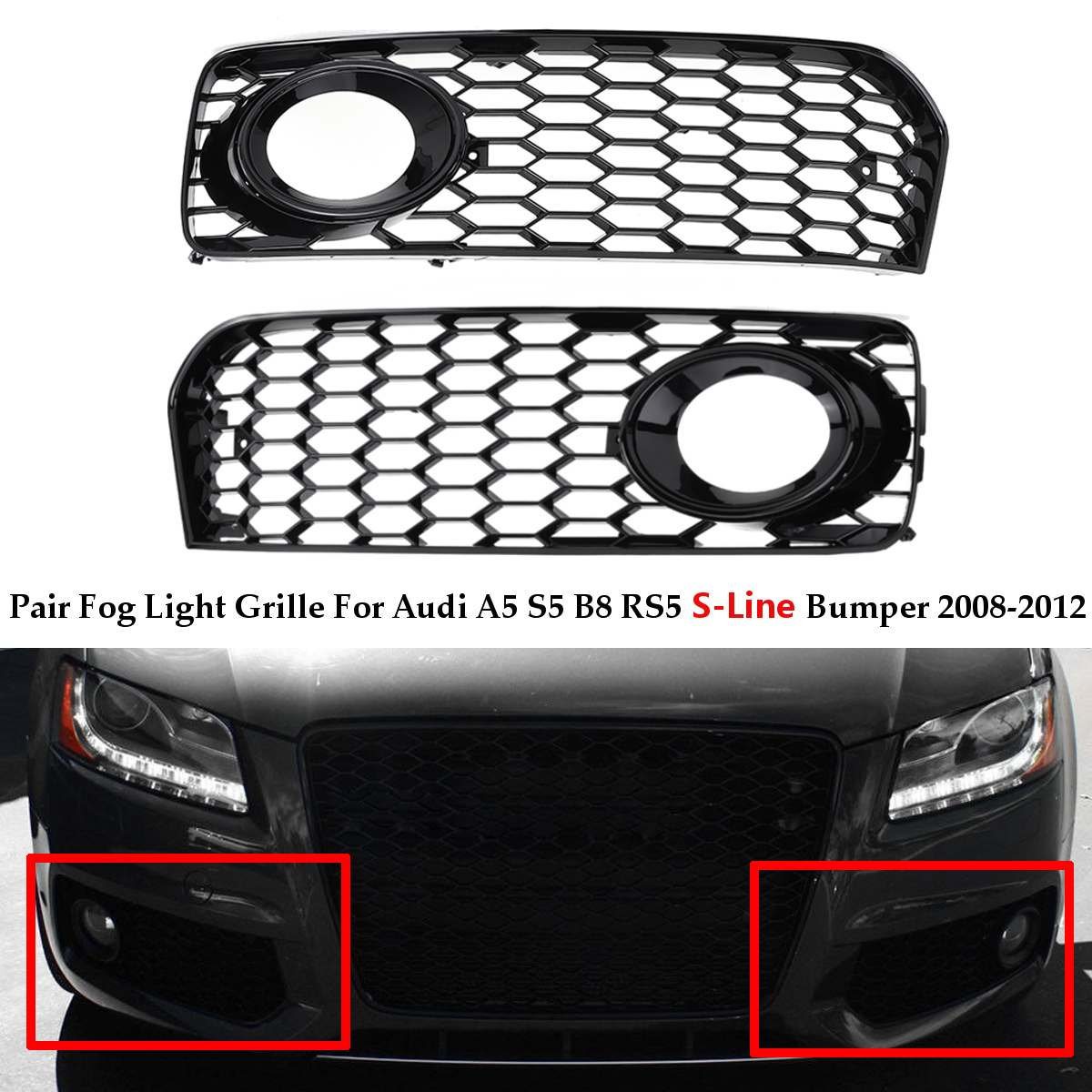 A Pair Car Fog Light Lamp Cover Honeycomb Mesh Hex Front Grille <font><b>Grill</b></font> For <font><b>Audi</b></font> <font><b>A5</b></font> S-Line / S5 B8 RS5 2008-2012 In Racing <font><b>Grills</b></font> image