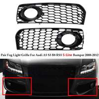 A Pair Car Fog Light Lamp Cover Honeycomb Mesh Hex Front Grille Grill For Audi A5 S Line / S5 B8 RS5 2008 2012 In Racing Grills